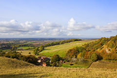 Autumn on the Yorkshire wolds. The patchwork landscape of the vale of York viewed from Thixendale on the Yorkshire wolds in Autumn Royalty Free Stock Photos