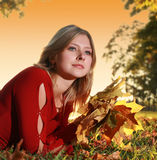 Autumn young woman stock images