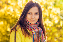 Young woman in autumn park. Young woman in the autumn park royalty free stock photography
