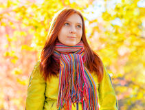Young woman in the autumn park.  royalty free stock images