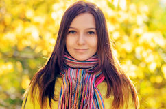 Young woman in the autumn park.  stock photography