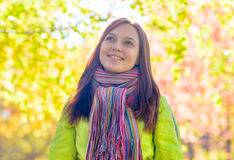 Young woman in the autumn park.  stock photos