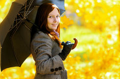 Young woman in autumn park Royalty Free Stock Photography