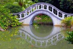 Autumn zen garden with bridge stock photo