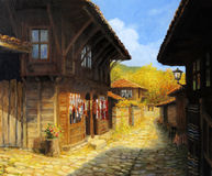 Autumn in Zheravna. An oil painting on canvas of a narrow street with typical old houses in village Zheravna, Bulgaria. Rural landscape in a bright sunny autumn Stock Image