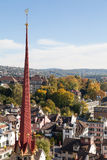 Autumn in Zurich. Switzerland. View from the Great Minster tower Royalty Free Stock Images