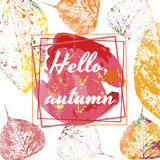 Autumnal abstract background in grunge style, hello autumn. Autumnal colorful abstract background in grunge style, hello autumn vector illustration