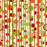 Autumnal abstract. Abstract stripes and circles retro seamless pattern in autumn colors Stock Image