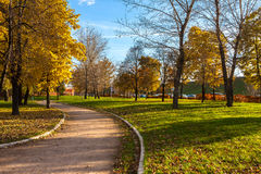 Autumnal alley in the park, Moscow Royalty Free Stock Image