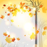 Autumnal background. Abstract autumnal background with flying leaves and space for text royalty free illustration