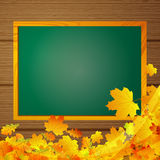 Autumnal background with blackboard Royalty Free Stock Photography