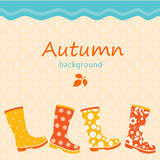 Autumnal background. With colorful gumboots and raindrops royalty free illustration