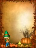 Autumnal background with cute toon ornaments Royalty Free Stock Photo