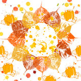 Autumnal background with leaves, pumpkins and watercolor splashes in grunge style. Autumnal background with colorful print leaves, pumpkins and watercolor Stock Photos