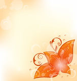 Autumnal background with set orange leaves Royalty Free Stock Image