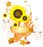 Autumnal background. With sunflowers and orange leaves Stock Photography