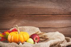 Autumnal background before wooden board Stock Photos