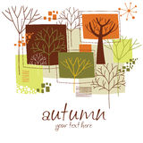 Autumnal banner. With yellow leaves and place for your text Stock Photography
