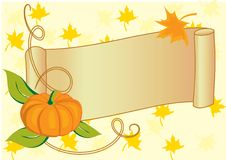 Autumnal banner with pumpkin for Thanksgiving day Royalty Free Stock Image