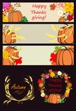 Autumnal banners and design elements with pumpkin Stock Images