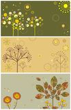 Autumnal banners. With funny abstract trees vector illustration