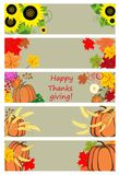 Autumnal banners for thanksgiving day Royalty Free Stock Images