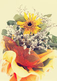 An autumnal bouquet, with dried sunflowers, Stock Images