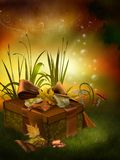 Autumnal box with ribbons Stock Photo