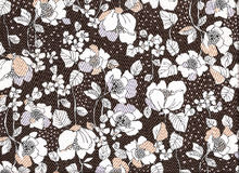 Autumnal brown background. Tissue decorated with flowers in the brown  tones, the autumnal colors Stock Images
