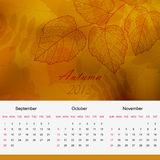 Autumnal calendar page of new 2013 year vector. Autumn season calendar page of new 2013 year vector eps 10 Stock Photography