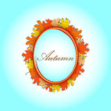 Autumnal card with frame of colorful maple leaves. Autumnal card with colorful maple leaves frame stock illustration
