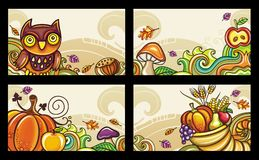 Autumnal cards series 2. Decorative banners, Thanksgiving theme Stock Image