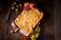 Autumnal Charlotte whit chocolate ground. Royalty Free Stock Images