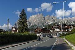 Autumnal corso Italia, the residential district in the town Cortina d`Ampezzo with mountain, Dolomite, Alps, Veneto. Italy, Europe Stock Photo