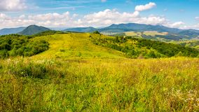 Autumnal countryside of Carpathian mountains. Grassy meadow and magnificent Pikui peak of Carpathian dividing ridge in the distance. lovely nature scenery with Royalty Free Stock Photos
