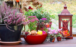 Autumnal decorated terrace Stock Photo