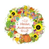 Autumnal decorative wreath Stock Photo
