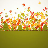 Autumnal design. Illustration of colorful Autumn Leaves and abstract trees Stock Photo