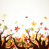 Autumnal design. Illustration of colorful Autumn Leaves and trees Royalty Free Stock Photos