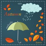 Autumnal elements. Cloud, umbrella and colorful leaves Royalty Free Stock Photography