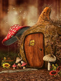 Autumnal fairy cottage. Autumnal scenery with a fairy cottage, mushrooms and sunflowers royalty free illustration