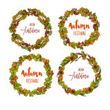 Autumnal or fall round frame background. Wreath of autumn leaves Royalty Free Stock Photo