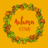 Autumnal or fall round frame background. Wreath of autumn leaves Stock Image