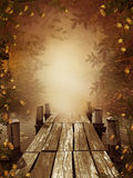 Autumnal fishing dock stock illustration