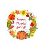 Autumnal floral decorative frame for Thanksgiving with pumpkin, sunflower and chrysanthemum. Autumnal floral decorative wreath for Thanksgiving with pumpkin vector illustration