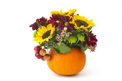 Autumnal flowers, berries and apples Stock Images