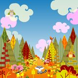 Autumnal forest card with cute animals Stock Photos