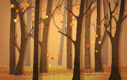 Autumnal forest with falling maple leaves. Paper art style Royalty Free Stock Photo