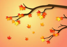 Autumnal forest with falling maple leaves. Paper art style Royalty Free Stock Photos