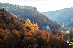 Autumnal forest and white rock,Ojcowski National Park, Ojcow, Poland Royalty Free Stock Photography